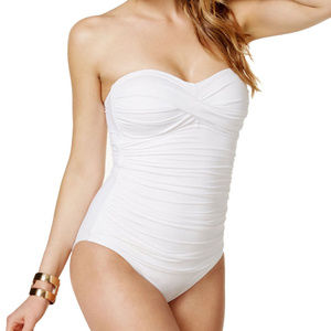 Anne Cole Twist Front Shirred Halter Bandeau 1-PC